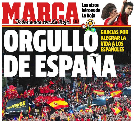 사진=스페인 일간지 `마르카` 7월 2일 특별판 1면
