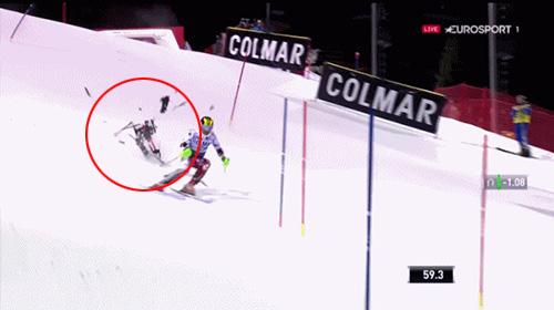 스키 경기 중 드론 추락 '충격'