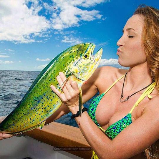 미녀와 키스하려는 무지개색 물고기