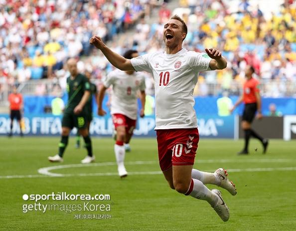 [덴마크-호주] 에릭센 7분 만에 골...덴마크, 호주에 1-0 리드 중