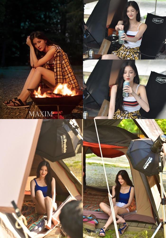 치어리더 김해리, '맥심' 화보서 캠핑녀 변신